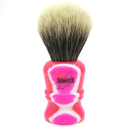 Simfix #404 Two Band Silvertip Badger Neon Pink