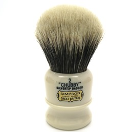Chubby 2 Two Band Silvertip Badger faux Ivory